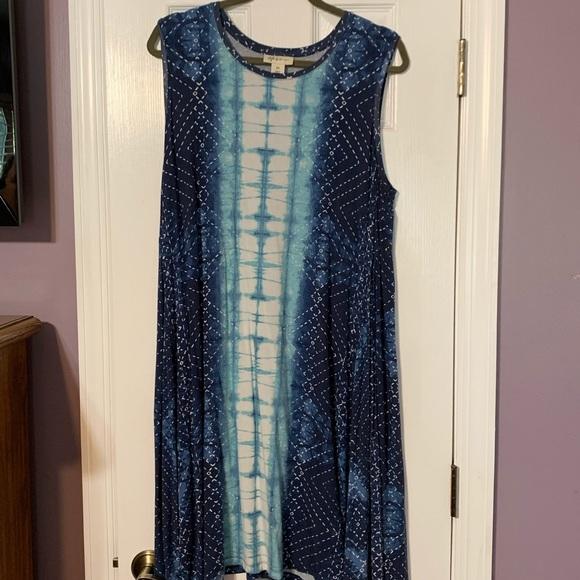 Sleeveless cotton summer dress. Plus size 2X.